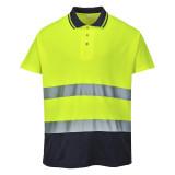Portwest S174 - Kéttónusú Cotton Comfort póló, sárga/tengerészkék