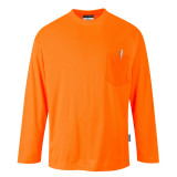 Portwest S579 - Day-Vis hosszú ujjú póló zsebbel, narancs