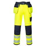Portwest T501 - PW3 Hi-Vis lengőzsebes nadrág, sárga/tengerészkék