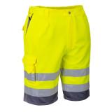 Portwest E043 - Jól láthatósági rövidnadrág, sárga/szürke