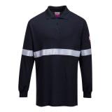 Portwest FR03 - Antisztatikus, lángálló hosszúujjú pólóing fényvisszaverő csíkkal, tengerészkék
