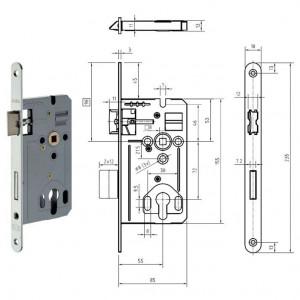 GEGE 170 PZ hengerzárbetétes bevésőzár lekerekített előlappal, 72/55 mm termék fő termékképe
