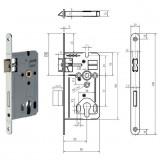 GEGE 170 PZ hengerzárbetétes bevésőzár lekerekített előlappal, 72/55 mm