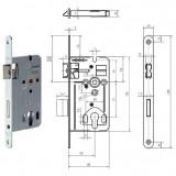 GEGE 170 WZ hengerzárbetétes bevésőzár lekerekített előlappal, 72/55 mm