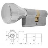ELZETT 756H matt-nikkel hengerzárbetét kerek gombbal, 30+30 mm