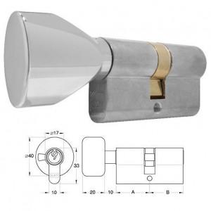ELZETT 756H matt-nikkel hengerzárbetét ovális gombbal, 30+30 mm termék fő termékképe