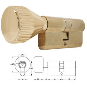 ELZETT 756 sárgaréz hengerzárbetét kerek gombbal, 30+30 mm termék fő termékképe