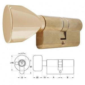 ELZETT 756 sárgaréz hengerzárbetét ovális gombbal, 30+30 mm termék fő termékképe