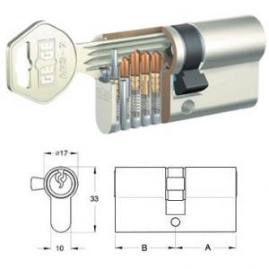 GEGE ANS-2 matt-nikkel hengerzárbetét, 55+55 mm termék fő termékképe