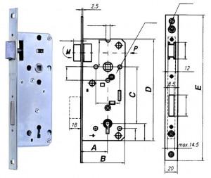 ELZETT RÓNA 90BB profilkulcsos bevésőzár, 90/45 mm termék fő termékképe