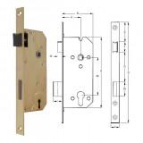 ELZETT VALIDO 7411 profilkulcsos bevésőzár szögletes előlappal, 90/45 mm