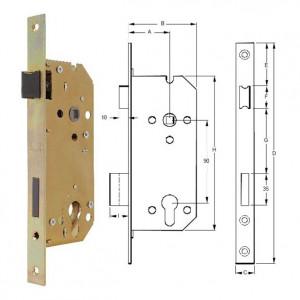 ELZETT VALIDO 7420 hengerzárbetétes bevésőzár szögletes előlappal, 90/45 mm termék fő termékképe
