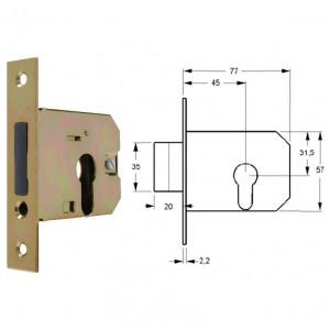 ELZETT VALIDO 777 hengerzárbetétes bevésőzár szögletes előlappal, 45 mm termék fő termékképe