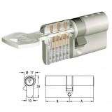 ELZETT X-11 matt-nikkel hengerzárbetét, 30+45 mm
