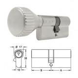 ELZETT X-11 matt-nikkel hengerzárbetét kerek gombbal, 30+30 mm