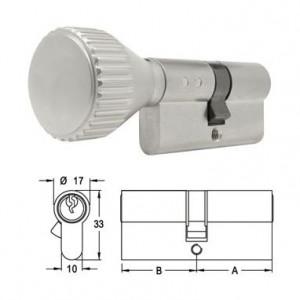 ELZETT X-11 matt-nikkel hengerzárbetét kerek gombbal, 30+30 mm termék fő termékképe