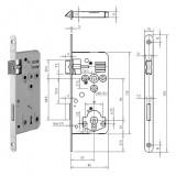 GEGE 121 KB Ö-Norm fogazott kulcsos bevésőzár lekerekített előlappal, 90/50 mm