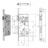 GEGE 121 PZ Ö-Norm hengerzárbetétes bevésőzár lekerekített előlappal, 88/50 mm