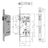 GEGE 121 WC Ö-Norm fürdőszoba és WC zár lekerekített előlappal, 90/50 mm