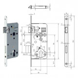 GEGE 121 WZ Ö-Norm hengerzárbetétes bevésőzár lekerekített előlappal, 88/50 mm