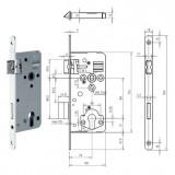 GEGE 121 WZ Ö-Norm hengerzárbetétes bevésőzár lekerekített előlappal, 88/70 mm