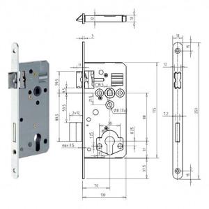 GEGE 121 WZ Ö-Norm hengerzárbetétes bevésőzár lekerekített előlappal, 88/70 mm termék fő termékképe