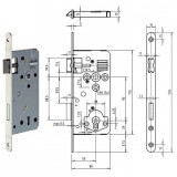 Gege.ergo KB Ö-Norm fogazott kulcsos bevésőzár lekerekített előlappal, 90/50 mm