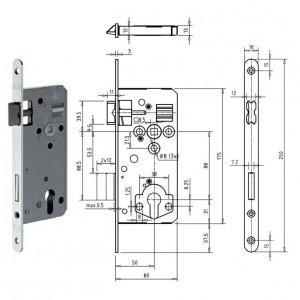 Gege.ergo PZ Ö-Norm hengerzárbetétes bevésőzár lekerekített előlappal, 88/50 mm termék fő termékképe