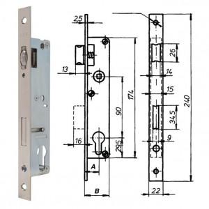 ELZETT RÓNA 85/25 G hengerzárbetétes portálzár, 85/25 mm termék fő termékképe